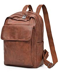 e98608f45bd82 Menran Vintage Leder Rucksack Damen Herren Daypacks Groß Business Laptop  Backpack Wasserdicht Schulrucksack mit Laptopfach…