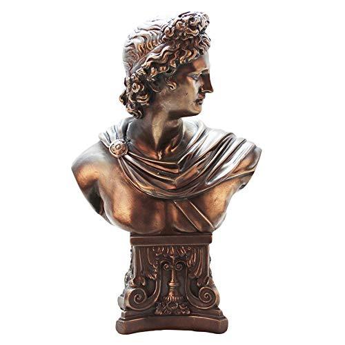 DERATON Statue of David, Bronzefigur Skulptur, Wohnzimmer Harz Handwerk, Dekorative Figuren, Geeignet Für Wohnzimmer, Schlafzimmer, Studie, Geschenk (12 X 20 X 32,5 cm)