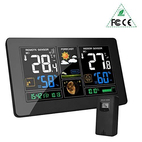 MOHOO Wetterstation funk mit außensensor wlan Funkwetterstation Farbdisplay Digital Thermometer Hygrometer Regenmesser und Uhrzeit Anzeige für Innen und Außen Zuhause Büro