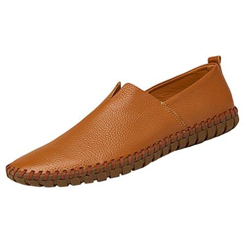 YiLianDa Herren Leder Slipper Leicht Flache Schuhe Anti-Rutsch Spaziergang Schuhe Dunkelbraun 46