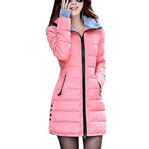 Zhuhaitf Cotton Women Lightweight Gemütlich Down Jacket Hooded Long Style Gloves Zipper Coat Outerwear