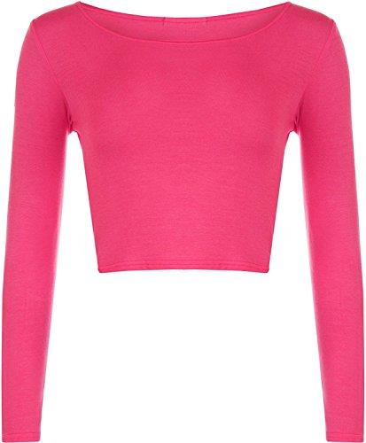 Crop Frauen Langarm-T-Shirt Damen Short Plain-Rundhalsausschnitt Top 8-14 Cercise