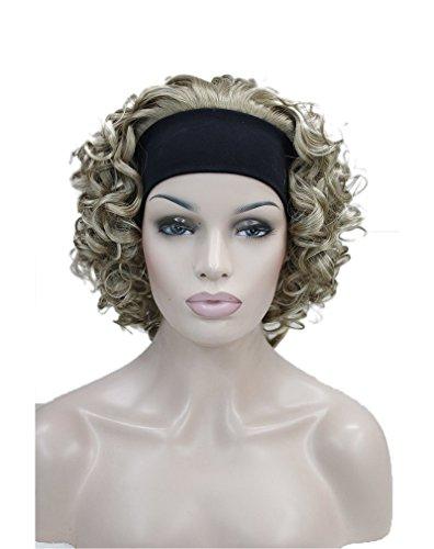 Kalyss 3/4 Perücke Mit Stirnband Blasse Blonde Lockige Kurze Synthetische Halbe Perücke Blond damen perrücken