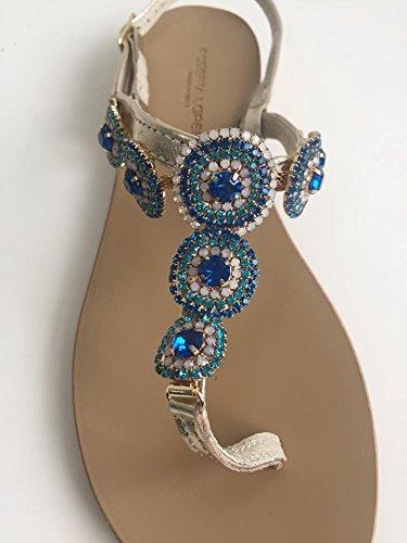 Roberta Lopes Santal Positano Bijou Bracelet Laminé Platine-Or/Pierre Bleu Turquoise/MADE IN ITALY Or - Oro/Blu/Turchese