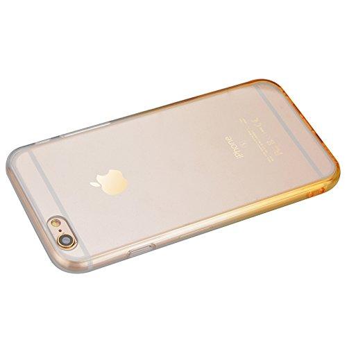 iPhone 6 / iPhone 6s Hülle, Yokata Durchsichtig Gradient Weich Jelly Weich Silikon Gel Case Ultra Slim Cover Schutzhülle Sehr Dünn Handyhülle + 1 x Kapazitive Feder Gelb