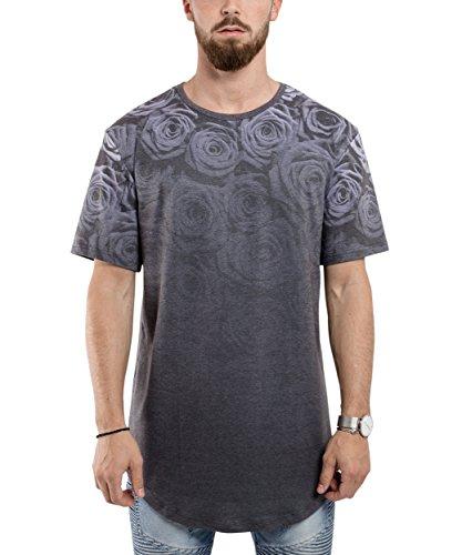 Phoenix Shadow Rose Oversize T-Shirt Allover Print Herren Longshirt - XL (Streifen-print Cap)