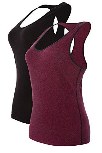 Attraco Damen Tank Top Unterhemd Baumwolle Zumba Kleidung Sport Shirt Workout Fitness Outfit Schwarz Weinrot 2XL (Xxl Zumba-kleidung Frauen Für)