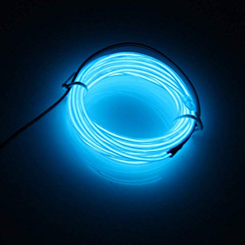 Kit Kostüm El Kabel - Lerway 5M Bunte Luminous EL Wire Elektrolumineszenzdraht EL Neon Kabel LED-Licht Glowing Beleuchtung Flexible Lampe + Controller-Box, für Schlafzimmer-Dekoration Home Kitchen Garden, Kaffee Restaurant, Party Bar Club(blau)