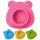 Schale für Babys und Kinder, Teller rutschfest und umkippsicher, Teddybär rosa