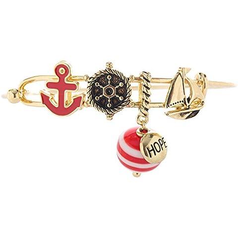 Náutico Ancla de cierre de metal encanto pulsera con, diseño de barcos, Rojo Boya–Dorado