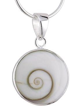 Vinani Anhänger Shiva Auge Kreis Fassung glänzend mit Schlangenkette Sterling Silber 925 Kette Italien ASA-S