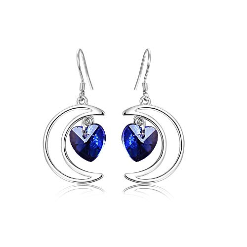 JJYHN Damen Elegant Ohrringe,Meer blau Herz Ohrringe Mond Ohr Nagel herzförmige Ohrringe -