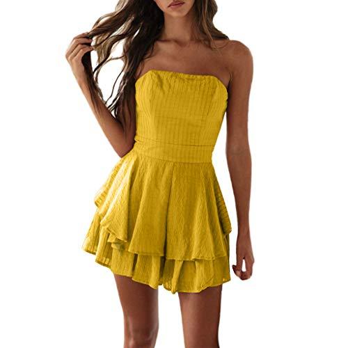 Damen Einfarbig Camisole Kleid, LeeMon Frauen gekräuselten Tube Top Plain Skating-Kleid Off-Schulter-Kleid Plissee-Kleid -
