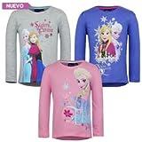 Set Of 3 Girls Disney Frozen T Shirt Kids Elsa Long Sleeve Top Age 8