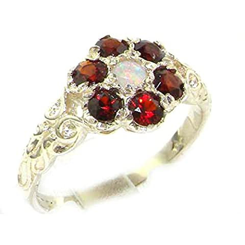 Victorian Ladies Solid Sterling Silver Natural Fiery Opal & Garnet Daisy Ring - Size Q - Finger Sizes L to Z Available - Ideal Gift for Birthday, Christmas, Valentines,