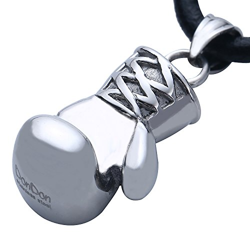 DonDon Herren Lederkette Leder Halskette 50 cm mit Edelstahl Anhänger Boxhandschuh