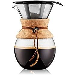 BODUM - 11571-109 - POUR OVER - Cafetière, filtre permanent maille inox, 8 tasses - 1.0 l , transparent