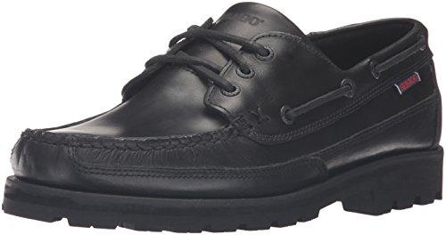 Sebago Mens Vershire Three Eye Boat Shoe Black Oiled Waxy Leather