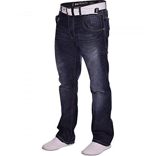 Crosshatch Hommes Crosshatch Résistant Durable Quality Jeans Jambe Droite Bleu Foncé Délavage foncé