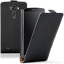 Membrane - Ultra Slim Negro Funda Carcasa para LG G3 (D850, D855, LS990 Sprint, F400, F400S, F400K, F400L) - Flip Case Cover + 2 protectores de pantalla
