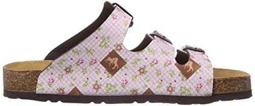 Pferdefreunde 500200, Chaussures de Claquettes fille Rose - Pink (Rosa/Braun)