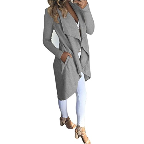 Produktbild Sannysis Damen Langarm Cardigan Mantel Open Front Jacke Kimono Strickjacke (M, Grau)