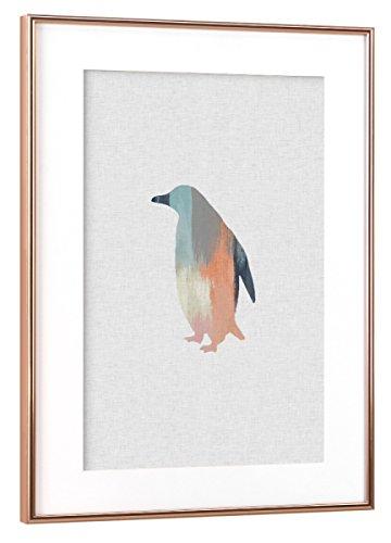 artboxONE Poster mit Rahmen Kupfer 60x40 cm Brushed Penguin von Orara Studio - gerahmtes Poster