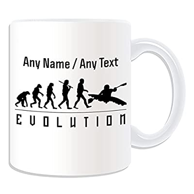 Personalised Gift - Kayak Mug (Evolution Design Theme, Colour Options) - Any Name / Message on Your Unique - Team Player Silhouette Outline Contour Olympics Game Event Kayaking Paddle Whitewater Rental Boat from ePorter