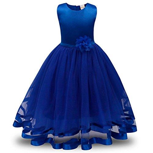 ❤️Kobay Blume Mädchen Prinzessin Brautjungfer Festzug Tutu Tüll-Kleid Party Hochzeit Kleid (Blau, 150/7 Jahr)