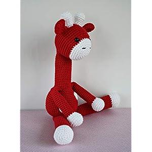 Häkeltier Giraffe rot aus Baumwolle Handarbeit