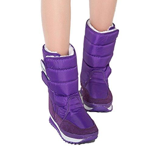 Fortuning's JDS Femmes Fille's Hiver Imperméable Velcro Velu coloré Sakura bottes de neige Bottes courtes Bottes de l'espace Violet