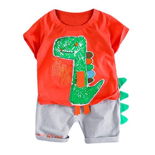 Zylione Kinderbekleidung Set Junge Baby Sommer Kurzarm Cartoon Dinosaurier Shirt T-Shirt + Nähtecke Shorts Zweiteilige Kindertagesgeschenk