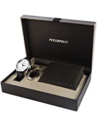 Persopolis Men's Gift Set with Watch Keychain and Wallet