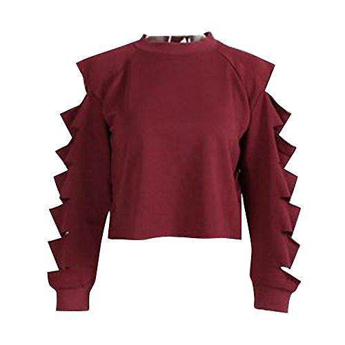 laamei 1pc Femme Sweat-shirts Déchiré Creux Trou Manche Lâche Casual Manches Longues Pull Tops Shirt Crop Tops Printemps et Automne Bordeaux