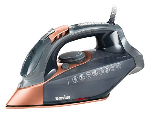 Breville VIN407 PressXpress 2800W Steam Iron with Advanced Ceramic Soleplate, Grey & Rose Gold Best Price and Cheapest