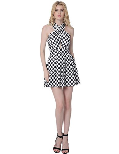 Frauen-Kleid sexy Wellenpunkt sich schneidender Hohl Rock Halter Halter , treasure blue , xl (Kragen Denim Einreiher)