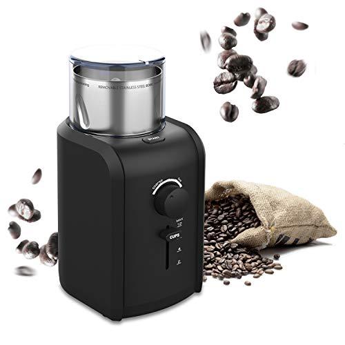 TTLIFE Kaffeemühle Elektrisch Coffee Grinder Espresso Mühle 70g Fassungsvermögen 2-12 Tasse Einstellbar 5 Stufen-Mahlgrad mit Edelstahlbehälter für Kaffeebohnen Nüsse Gewürze Getreide Schwarz