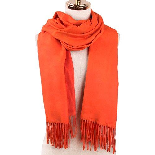 SOJOS Beidseitig Farbig Reversible Kaschmir Wolle Damen Schal Schals Poncho SC302 Rot Orange (Muster Schal Reversible)
