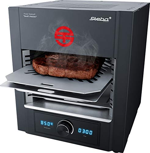 Steba Power ELEKTRO Steakgrill PS M2000 Devil\'s Heaven | elektronische Temperaturregelung von 400 bis 850°C | Timer bis 99:59 Minuten | Entnehmbarer Edelstahl-Einschubrahmen | 2000 Watt
