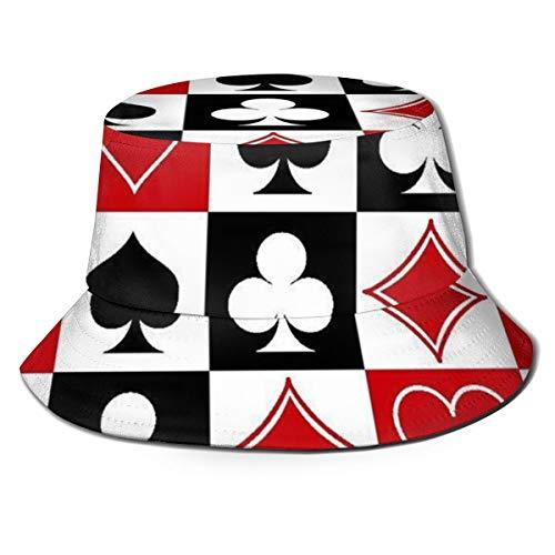 Erwachsene Für Dirigent Kostüm - Pipaxing Grid Poker Spielkarten Eimer Hut Fischerhüte Sommer Wendbare Packbare Kappe