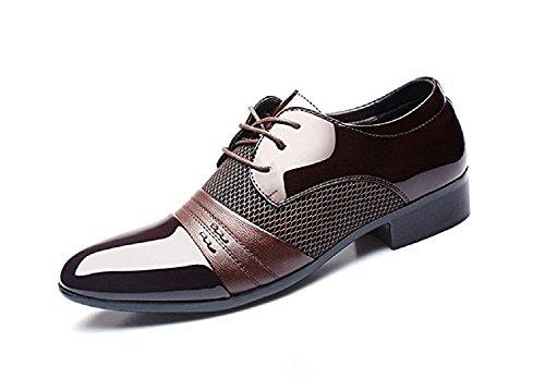Anzugschuhe Herren Business Schuhe, Hochzeit Schnürhalbschuhe Oxford Anzug Leder Derby Männer Lackleder Lederschuhe Elegant Schwarz Braun 38-48 BR41
