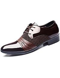 Zapatos Oxford Hombre, Cuero Derby Vestir Cordones Calzado Boda Brogue Verano Negocios Moda Uniforme Negro