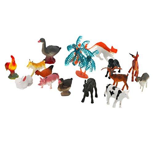 Pvc Plastica Modello Albero Animali Da Allevamento Stabiliti Bambini 15pcs Giocattolo Multi-color