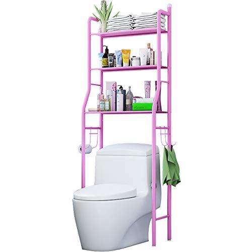 Wc Storage Rack, 3-Tier Metall Badezimmer Lagerung Toilette Regal Rack-Platzsparend Handtuch Kleidung BüCher Shampoo Compact Badezimmer Organizer (Pink) - 3-tier-handtuch-regal