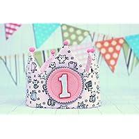 Corona de tela para cumpleaños niña, corona reversible de tela de algodón, corona infantil.