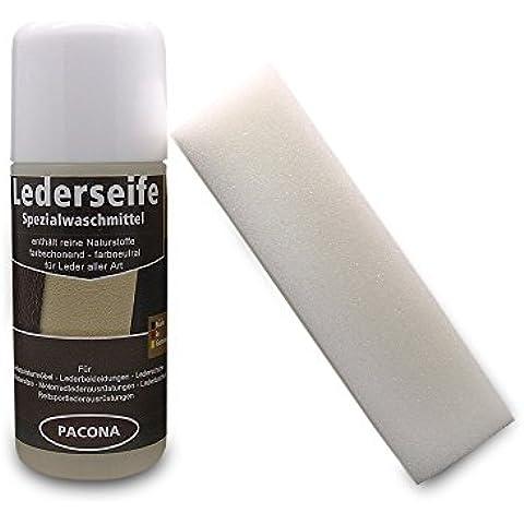 Pelle Pacona sapone per pelle liscia, scamosciata, in pelle nabuk, con rullo spugna–150ml... lederwasch medio, sella sapone, in pelle shampoo, detergente per pelle