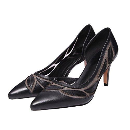 Senhoras Para Mulheres Dedo Sapatos Enmayer Altos Stiletto Gaze Apontado Bombas Slip Saltos As on Preto Sólida Casuais UPqgwd