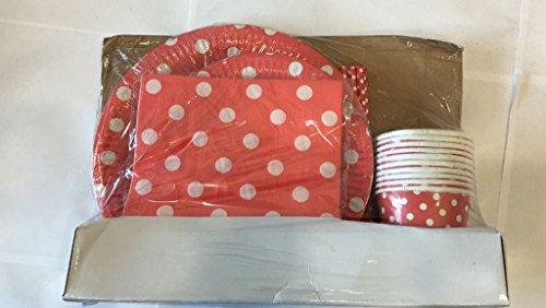 kraftz® 50PC Set-22,9cm Pappteller, 19,1cm Papier Teller, Papier Trinkhalme, Servietten, Pappbecher-Einweg Geschirr mit Polka Dots für Geburtstag Weihnachten Hochzeit Event Party (rot)