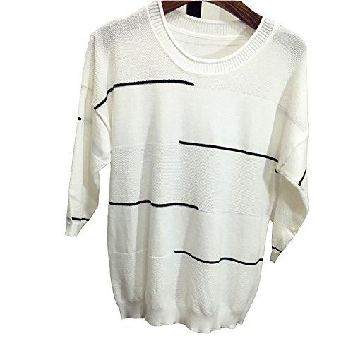 Oberteile Damen Langarmshirts Sommerbluse Hemd Blusen Baggy T-Shirt Tops Weiß