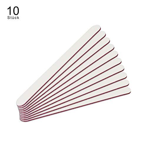 Limes Professionnelles Droites Blanches, Lot de 10-Qualité professionnelle 100/180 grain + rose couleur rouge/noyau